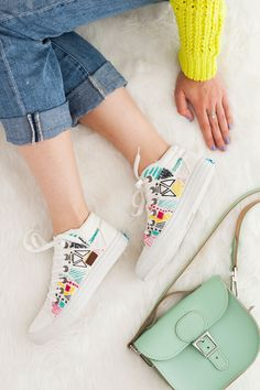 Forget the Hoop! Embroider White Canvas Sneakers for Spring | Brit + Co