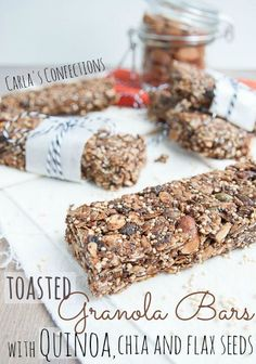 Toasted Granola Bars with Quinoa, Chia and Flax Seeds - Wendy Polisi seed benefits seed crackers seed gel seed recipes seed recipes how to use Healthy Bars, Healthy Sweets, Healthy Breakfasts, Healthy Shakes, Homemade Granola Bars, Keto Granola, Chia Recipe, Breakfast Bars, How To Cook Quinoa