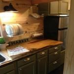 Lovely kitchen counter made of local Ponderosa pine.  ---24 Foot Tiny House