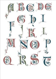 erste versuche zur beleuchtung – calliterre lettrines A à T - fonts and calligraphy Hand Drawn Fonts, Hand Lettering Fonts, Lettering Design, Illuminated Letters, Illuminated Manuscript, Monogram Letters, Letters And Numbers, Calligraphy Fonts Alphabet, Letter Art