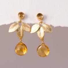 10% Off - November Birthstone Earrings - Citrine Earrings - Leaf Earrings - Gemstone Earrings. $48.00, via Etsy.