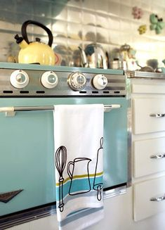 vintage travel trailer - turquoise stove