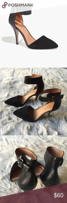 """Madewell Ava heels Black leather and suede heels. Ankle strap 3.5"""" heel. Barely worn in perfect condition. Madewell Shoes Heels"""