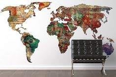 adesivo de parede mapa mundi para sala
