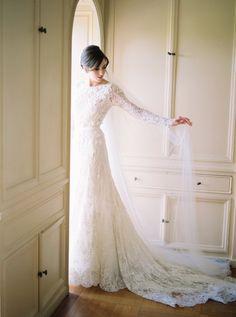 Photography : Rebecca Arthurs   Wedding Dress : Elie Saab  Read More on SMP: http://www.stylemepretty.com/2016/03/21/elegant-intimate-glen-manor-wedding/