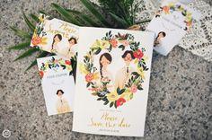 Illustration Weddiing Card #4 :: 10월의 청첩장(맞춤형 일러스트 웨딩카드 #4) 맞춤형 일러스트 청첩... Invites, Wedding Invitations, Wedding Illustration, Invitation Design, Save The Date, Wedding Cards, Card Ideas, Tropical, Layout