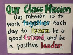 Great class mission... Notice the key words!