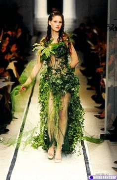 Tarzan and Jane Forest Wedding. haha. So beautiful. Some dresses made out of leaves.wheat grass that are assembled on the bride the day of her wedding. Unique.
