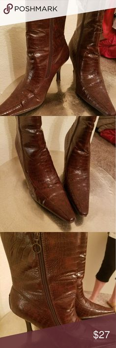 Brown tectured bootie Boots zip on both sides allowing for comfort and adjustment in the ankle covergirl Shoes