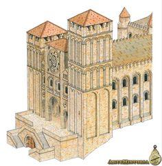 Catedral de Santiago de Compostela. Reconstrucción Romanesque Architecture, Art Story, City Art, Pisa, Tower, Building, Iglesias, Travel, Inspiration