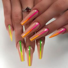 Long Nails With Neon Stripes ❤ Examples Of Beautiful Long Nails To Inspire You ❤ See more ideas on o Rainbow Nails, Neon Nails, My Nails, Summer Nails Neon, Neon Green Nails, Neon Nail Art, Nail Art Designs, Acrylic Nail Designs, Nails Design