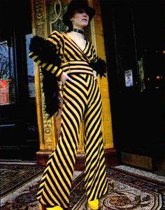 Late 70s (?) Biba Yellow & Black Striped Flared Leg Jumpsuit