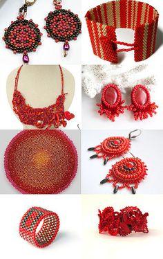 https://www.etsy.com/treasury/MjIyMTE1NDl8MjcyMzk3MTYyOQ/beautiful-beadwork-in-red #beadwork #beading