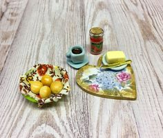 Your place to buy and sell all things handmade Brioche Rolls, Bird Tables, Strawberry Compote, Continental Breakfast, Clay Food, Bread Board, Miniature Food, Glass Jars, Dollhouse Miniatures