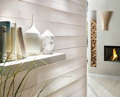 Homeplaza: Profilholz - Wohngesunde und kreative Innenraumgestaltung mit Holz (Foto: Osmo) Shelves, Home Decor, Wood, Interiors, Desktop, Red Cedar, Transfer To Wood, Warm Paint Colors, Personal Style