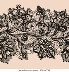Abstract lace ribbon seamless pattern with elements flowers. by Vikpit, via Shutterstock