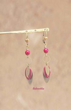 """Boucles d'oreilles """" Lahna"""" sequins ovales bronze et bordeaux : Boucles d'oreille par baboochka"""