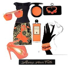 """#Casual orange"" by adriane-quoos on Polyvore featuring TIBI, Roland Mouret, Christian Louboutin, MAC Cosmetics, Serge Lutens, Swarovski and DutchCrafters"
