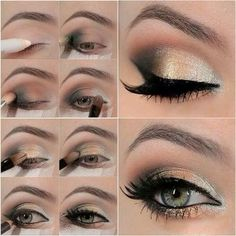 makeup for grey eyes golden shade
