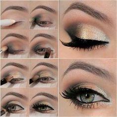 makeup for grey eyes golden shade