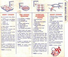 Rice Krispy Vintage Recipes