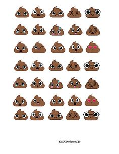 Poop Emoji Stickers, great for potty training, scrapbook elements or fun in your planner.