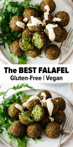Are you ready for the best falafel recipe you've ever tasted? Falafel are delicious balls of chickpea and herb goodness that you find in Middle Eastern cooking. They're crispy on the outside, soft on Vegan Foods, Vegan Dishes, Vegan Vegetarian, Vegetarian Options, Raw Vegan, Vegan Dinner Recipes, Whole Food Recipes, Cooking Recipes, Best Healthy Recipes