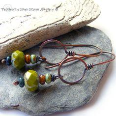 Copper Earrings Beaded Earrings Boho by SilverStormJewellery