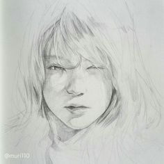 Sketchbook ~ (my side ig account - Pencil Sketches Of Faces, Drawing Sketches, Art Drawings, Portrait Sketches, Pencil Portrait, Face Sketch, Portraits, Human Art, Art Graphique