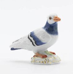 Pigeon, Coloured, with gold, Meissen