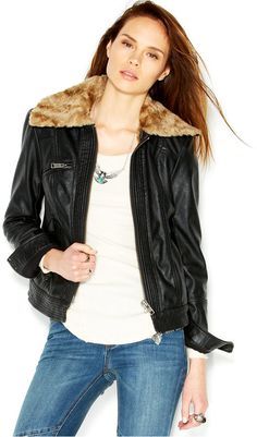 Free People Faux-Leather Faux-Fur Aviator Jacket on shopstyle.com
