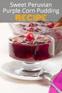 One of the most popular desserts in Peru, Mazamorra Morada is a delicious, sweet combination of corn and fruit. This jelly-like treat is made thick by the addition of sweet potato flour (another Peruvian staple) or even corn starch.   #PeruvianFood #PeruvianRecipes #AuthenticRecipes #PeruvianDesserts #PuddingRecipe Most Popular Desserts, Easy Desserts, Delicious Desserts, Dessert Recipes, Peruvian Desserts, Peruvian Recipes, Sweet Potato Flour, Corn Pudding Recipes, Cinnamon Chips