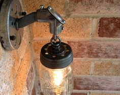 JAR OF LIGHT- Pint Mason Jar Light sconce with galvanized conduit and chain. Industrial wall sconce , Edison bulb,