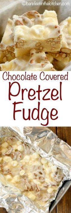 <Chocolate Covered Pretzel Fudge is a salty sweet holiday treat that everyone lov. Chocolate Covered Pretzel Fudge is a salty sweet holiday treat that everyone loves! get the recipe at barefeetinthekitc… Fudge Recipes, Candy Recipes, Sweet Recipes, Baking Recipes, Pretzel Recipes, Köstliche Desserts, Delicious Desserts, Dessert Recipes, Christmas Desserts