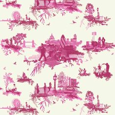 London Toile by Timorous Beasties (classic toile pastorals replaced with contemporary urban images)