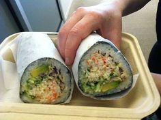 Sushi in burrito form. awesome   OH MY GOSH!  SHAWN WOULD BE IN HEAVEN!  They should try this for our sushi night tomorrow!!