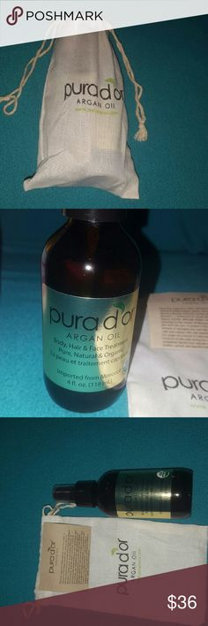 SALE🎁🤗Pura d'or Argan Oil from Morocco 4fl oz Pure Argan oil for healthy hair, skin, & nails Can be used as a cosmetic serum for natural beauty and for regular treatment of hair, scalp, skin, nails, and cuticles. After cleansing, gently massage a few drops into desired area for at least one minute. Reapply as needed. Use alone for optimal results. High purity level, store in a cool area away from direct sunlight. USDA organic *Comes in a glass bottle with original packaging & bag  **Large…