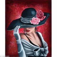Image 3D Femme - Femme au chapeau sur fond rose 30 x 40 cm