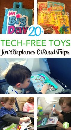 Traveling with kids? Keep them entertained without electronic devices with these tech-free travel toys. Perfect for air travel or road trips!