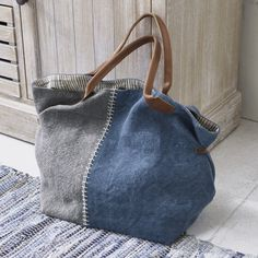 Two-piece bag - Home Decoration Fabric Handbags, Fabric Bags, Denim Tote Bags, Linen Bag, Recycled Denim, Bag Patterns To Sew, Quilted Bag, Cotton Bag, Handmade Bags