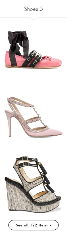 """""""Shoes 5"""" by casey-avery ❤ liked on Polyvore featuring shoes, flats, miu miu flats, pink shoes, pink ballerina flats, pink patent leather flats, buckle shoes, pumps, heels and studded pointed toe pumps"""