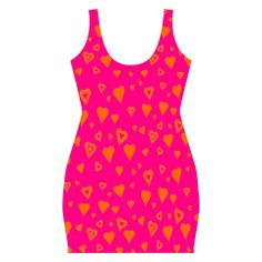 Hot Pink with lots of orange hearts Full Print Bodycon Dress by Khoncepts $57.49. Form fitting, easy to pack dress