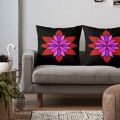"""Lotus Star Design"" Throw Pillow by Pultzar 