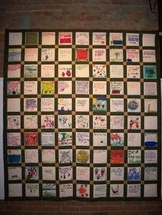 Students create a poem during a poetry unit and then illustrate the poem. Put the pieces together to make a quilt as a class. Could use for open house.