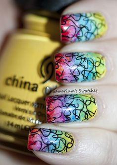 Tye dye nails from Samariums Swatches. Nail Manicure, Diy Nails, Glitter Nails, Cute Nails, Pretty Nails, Crazy Nail Art, Crazy Nails, Nail Polish Designs, Nail Designs