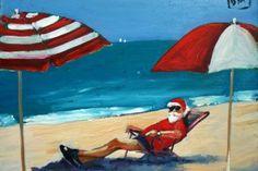 Down Time - Santa card, Christmas card, painting by artist Debbie Miller