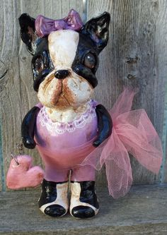 Items similar to Vintage Nostalgic Folk Art Boston Terrier Girl Dog Doll Ooak Handmade on Etsy Boston Terrier For Sale, Boston Terrier Art, Boston Art, Michael Art, Girl And Dog, Dog Pictures, Puppy Love, Best Dogs, Art Dolls