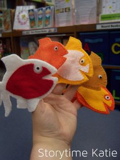 Goldfish finger puppets w/templete from Storytime Katie