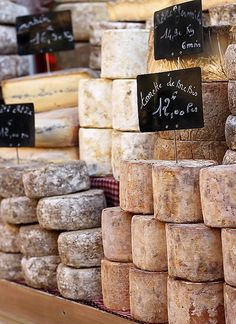 Food stall at the Rognes Truffle Market, Provence, France. Comment peut-on vivre sans fromage ? (How can we live without cheese? Fromage Cheese, Goat Cheese, Belle France, French Cheese, Cheese Shop, Cheese Lover, Wine Cheese, Cheese Art, Aged Cheese