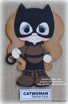 Items similar to Catwoman Superhero Girl Premade Scrapbooking Embellishment Paper Piecing CardClip Art. on Etsy Catwoman, Scrapbook Embellishments, Treasure Boxes, Punch Art, Box Design, Preschool Crafts, Scrapbooking Layouts, Paper Piecing, Baby Quilts
